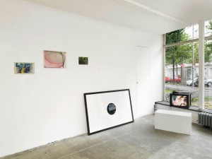 Installation view, Valise (2013), works left to right: Andrew Kerr, Hayley Tompkins, Andrew Kerr, Raydale Dower, Tom Varley