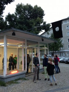 Opening of Valise exhibition curated by Sarah Lowndes for the Volksbuehne Pavilion.