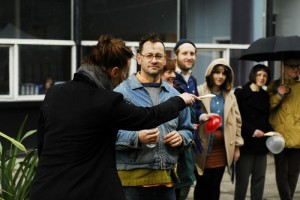 Participants in Chris Johanson Drum Circle performance (left to right: Katie Nicoll, Chris Johanson, Matthew Walkerdine and Jessica Higgins).